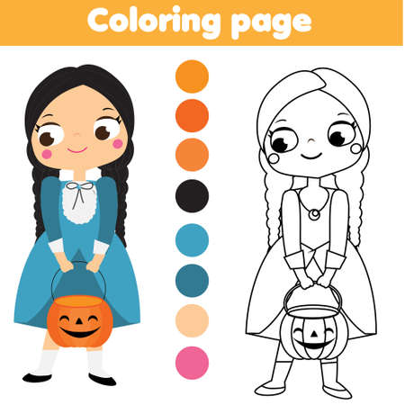 Coloring page with cartoon Halloween girl. Printable activity for children, kids and toddlers. Ilustração