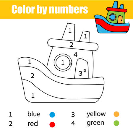 Ship toy. Coloring page for kids. Educational children game. Color by numbers activity for toddlers Ilustração