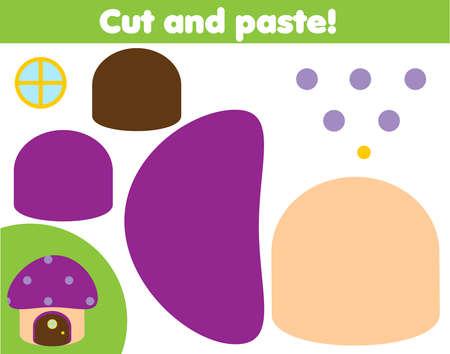Creative children educational game. Paper cutting activity. Make fairy mushroom with glue and scissors Ilustração
