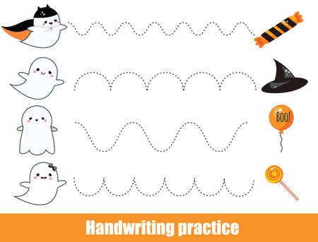 Halloween game. Handwriting practice sheet. early education worksheet for kids and toddlers. Printable Children activity. Connect ghosts with objects Ilustração