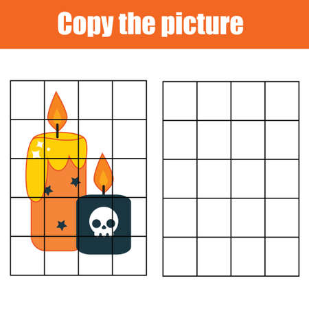Candles Draw by grid. Copy picture educational game for children, toddlers and kids. Halloween theme activity