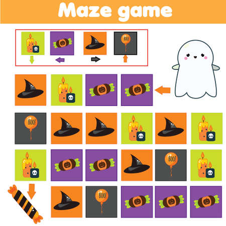 Maze game. Halloween Labyrinth with navigation. Help ghost find sweets learning left, right, up and down. Educational page for kids.