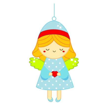 Christmas angel. Spruce decoration figure for New Year tree Ilustração