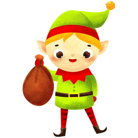 Christmas elf. Cute Santa dwarf helper holding bag present. Isolated cartoon character for new Year greeting design Banco de Imagens