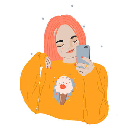 Cartoon girl making selfie with smart phone. Modern young pink hair female with phone. Vector flat illustration. Ilustração