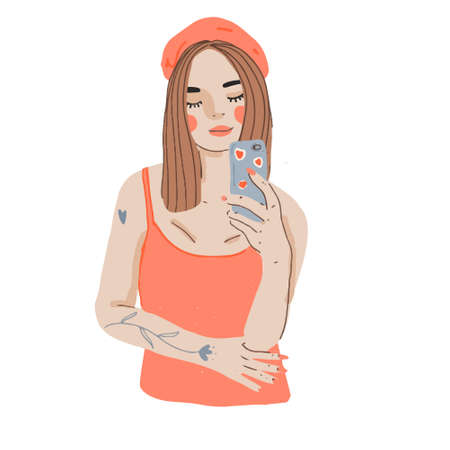 Cartoon girl making selfie with smart phone. Modern young female look at her phone. Vector flat illustration.