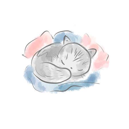 Cute cat have cozy sleep in pillows. little kitten sweet dreaming Banco de Imagens