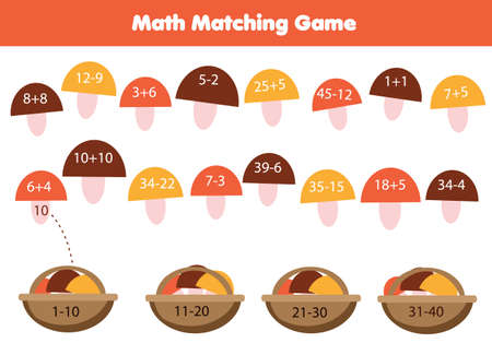 Mathematics equation children educational game. Match objects with numbers. Study addition and subtraction for kids and toddlers. Put mushrooms in basket