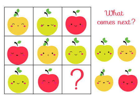 What comes next educational children game. Kids activity sheet, continue the row of apples Ilustração