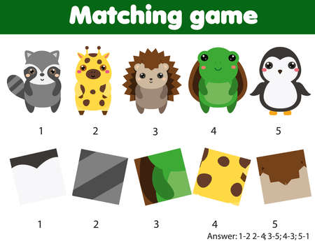 Matching game. Educational children activity. Match pairs of pattern and animal