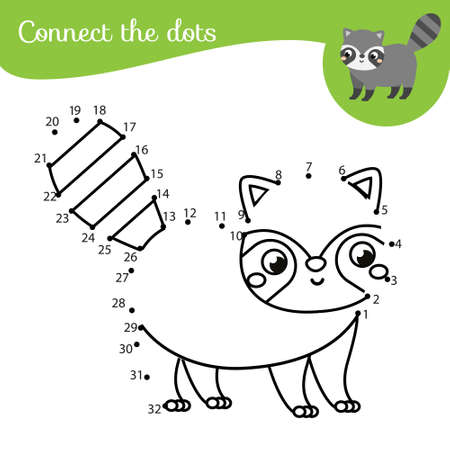 Connect the dots. Dot to dot by numbers activity for kids and toddlers. Children educational game. Cute raccoon