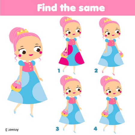 children educational game. Find the same pictures. spot two resemble girls. fun for kids and toddlers Ilustração