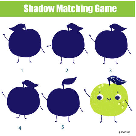 Shadow matching game for children. Find the right silhouette for cartoon apple. Activity for preschool kids Ilustração