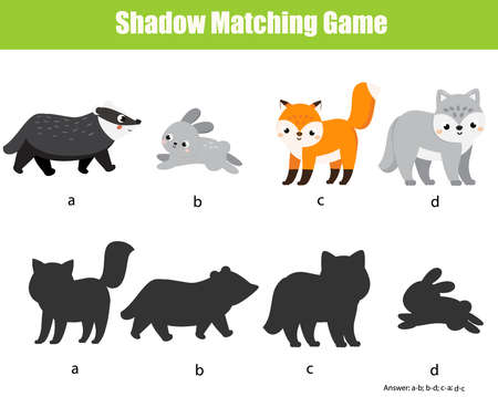 Shadow matching game for children. Find the right shadow for forest animals. Badger, hare, fox, wolf. fun activity for kids