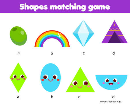 Educational children game. Matching game worksheet for kids. Match by shape. Learning geometric shapes. Ellipse, diamond, semicircle, triangle