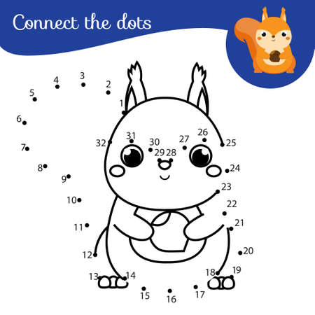 Connect the dots. Dot to dot by numbers activity for kids and toddlers. Children educational game. Cute squirrel