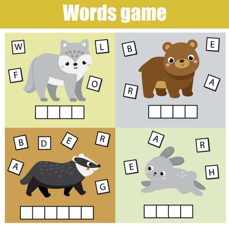 Forest animals. Write missing letters and complete words. Crossword for kids and toddlers. Educational children game. Learn English