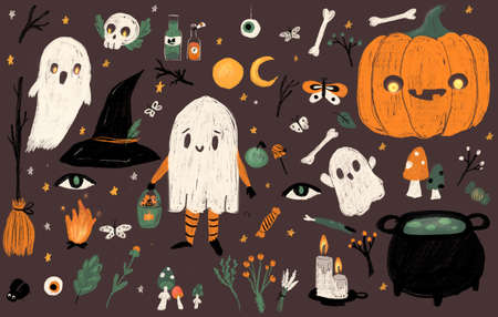 Big Set of Halloween hand drawn charcoal elements. Ghosts, pumpkin, cauldron, candles and other symbols for Samain celebration