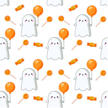 Halloween seamless pattern with sweets, ghosts and candy. Colorful background for textile, wrapping and other design