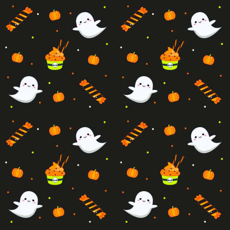 Halloween seamless pattern with cupcakes, ghosts and candy. Colorful background for textile, wrapping and other design