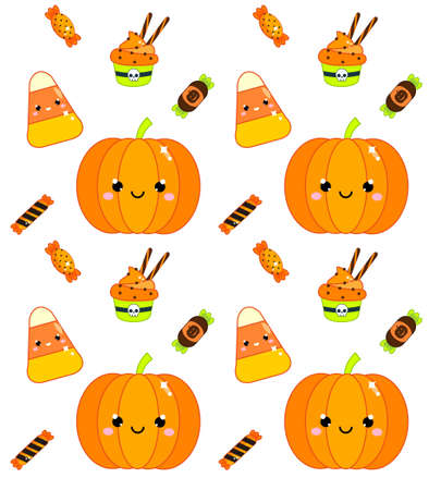 Halloween seamless pattern with pumpkin, candy corn and sweets. Colorful background for textile, wrapping and other design