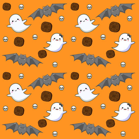 Halloween seamless pattern with cookies, ghosts and bat. Colorful background for textile, wrapping and other design