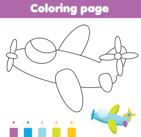 Coloring page with cartoon plane. Drawing kids activity. Printable fun for toddlers and children. Toys theme