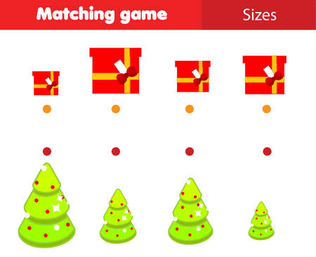 Match by size educational children game. Connect gifts and Christmas spruce. New Year holidays activity for kids