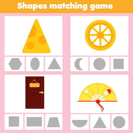 Matching children educational game with geometric shapes.