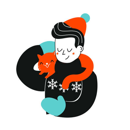 Man with cat. Boy in winter sweater hold cat on shoulders. Pets lover illustration. Animal friends concept art