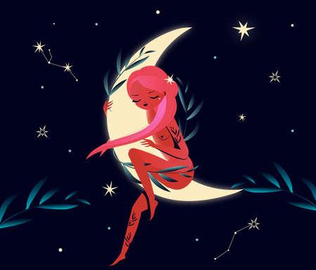 Beautiful girl fairy sit on the Moon at starry night and sleep. Mystic illistration Vector Illustration