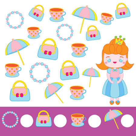 Mathematics educational children game. Counting objects. Study numbers, addition. Princess theme kids math activity 向量圖像