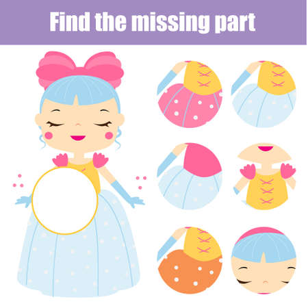 Cute princess puzzle for toddlers. Find missing part of picture. Educational children game, kids activity