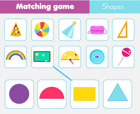 Educational children game. Matching game worksheet for kids. Match by shape. Learning geometric form. Semicircle, traingle, rectangle, circle