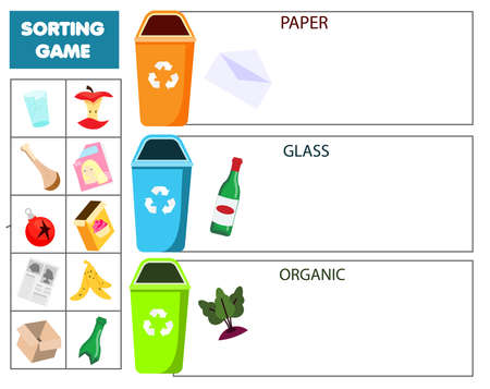 Garbage sorting educational children game. Match trash with bin Sorter activity for kids.