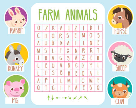 Educational game for children. Word search puzzle. Learn farm animals for kids and toddlers. 向量圖像
