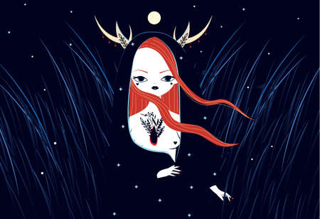 Beautiful witch in mantle and animal horns. Mystic illistration of magician female in night.