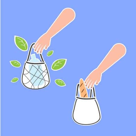 Human hand hold Plastic bag and eco bag. ecological lifestyle concept illustration