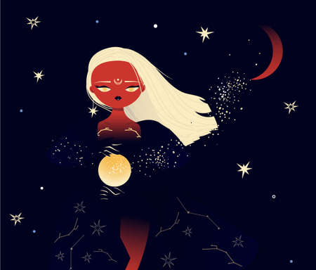 Beautiful witch in mantle walking in starry moon night. Mystic illistration of magician female