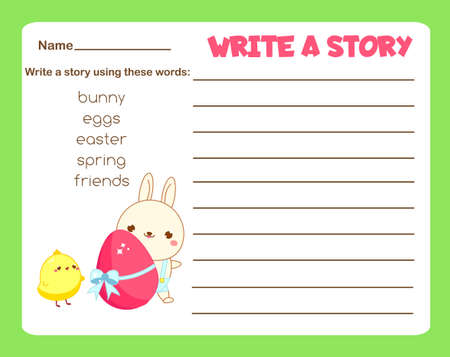 Writing prompt for kids blank. Educational children page. Develop fantasy and writing stories skills. Easter holidays theme