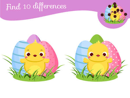 Find the differences educational children game. Easter theme Kids activity fun page for pre school years kids with chicken abd decorated eggs