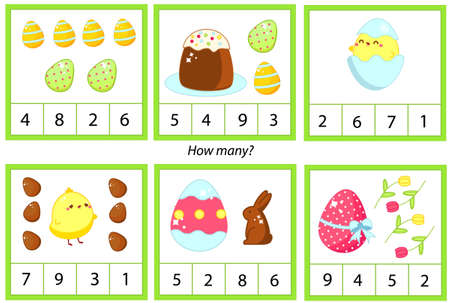 Easter theme counting kids activity. educational children game. How many objects learning card.
