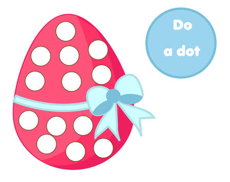 Eduational children game. Do a dot for kids and toddlers. Easter activity for pre school age kids. Stamp game  イラスト・ベクター素材