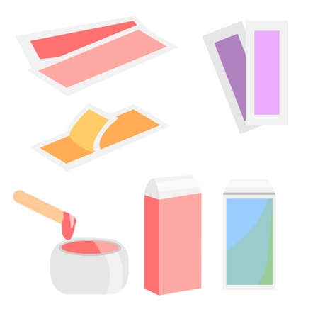 Epilation and hair removal wax tools. Cassete, hot wax and stripes.