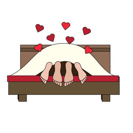Couple having in bed. Family, lovers making love. St Valentine's day, romantic, love, honeymoon design element, icon. Vector illustration