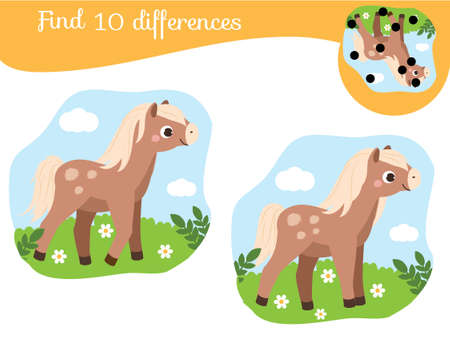 Find the differences educational children game with answer. Kids activity with cartoon horse