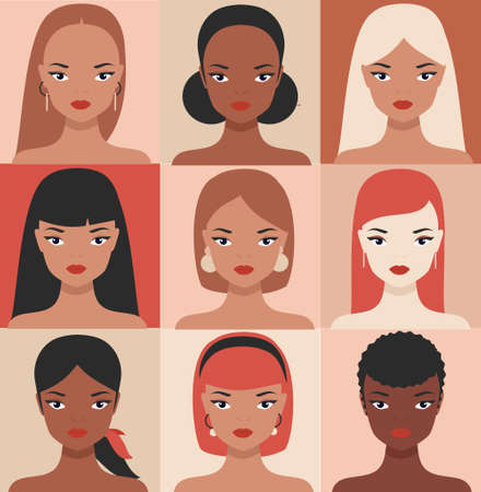 Female portraits of different nationalities, ethnicity. Girls profile faces avatars vector collection. women of the world cultural diversity 向量圖像