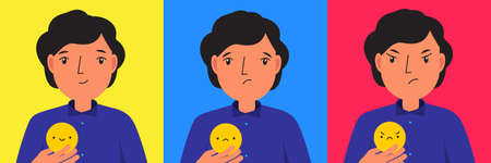 Man with emoticon symbols. Happy, sad and angry mood. Vector illustration for people states of mind 向量圖像