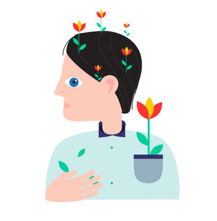 Person with flowers growing from his head. Mental health concept. Abstract vector illustration for people mood and state of mind