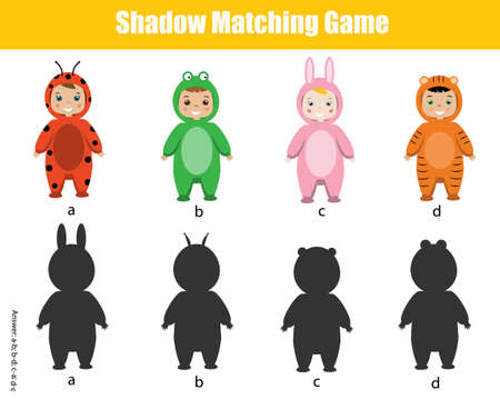 Shadow matching game. Kids activity with cartoon kids. Find silhouette page for toddlers